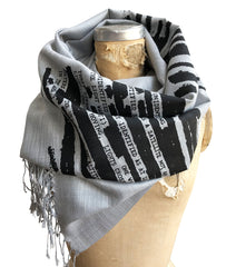 UFO Redacted Scarf, Unclassified NSA Memo Linen-Weave Pashmina