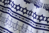 Blue and white Ugly Hanukkah Sweater Print Scarf, by Cyberoptix / Wethouse