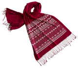Ugly Christmas Sweater Print Scarf, by Cyberoptix. White on ruby red