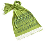 Green Ugly Christmas Sweater Print Scarf, by Cyberoptix. Dark emerald on margarita