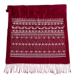 Red and white Ugly Christmas Sweater Print Scarf, by Cyberoptix. White on ruby red