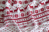 White Ugly Christmas Sweater Print Scarf, by Cyberoptix. Red on white.