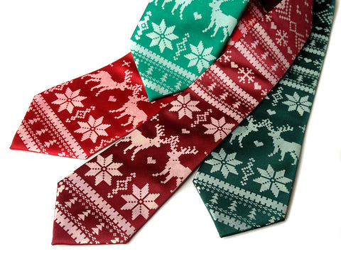 Christmas Sweater silk necktie. Ugly Holiday Sweater tie
