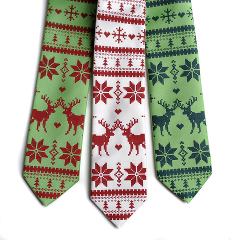 Christmas Sweater Necktie. Ugly Holiday Sweater tie.