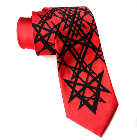 Unicursal Hexagram Silk Necktie