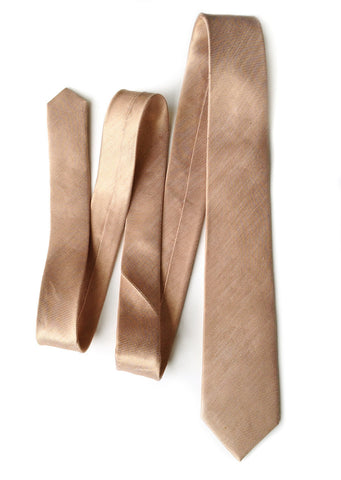 Pale Copper Linen Necktie. Solid Color Tie, Vernors