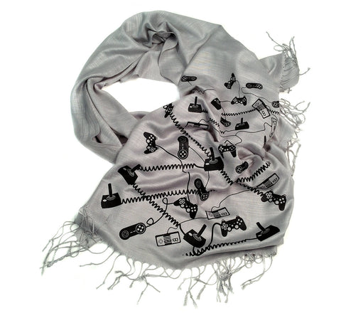 Video Game Controllers Scarf. Linen-weave pashmina