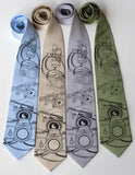 Camera Neckties. Black on sky blue, champagne, silver, sage.