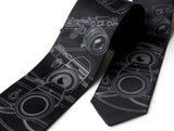 Old Camera Neckties. Dove gray on black.