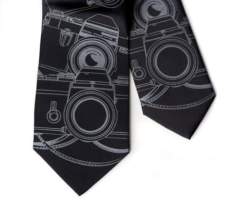 Camera Print Silk Necktie. Photographer's tie.