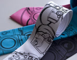 Camera Neckties. Black on white, hot pink, turquoise, charcoal.