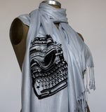 Black ink on silver pashmina.