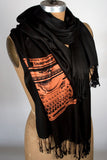 Copper ink on black pashmina.