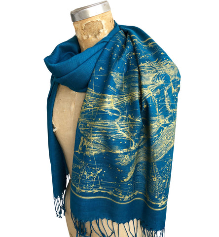 Virgo Scarf, Zodiac Constellation Linen-Weave Pashmina