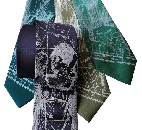 Virgo Necktie, Zodiac Constellation Star Chart Print Tie