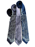 Blue Washington DC Map Print Neckties, by Cyberoptix