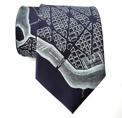 Washington DC Map Silk Necktie