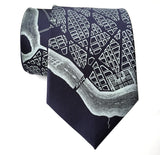 Navy Blue L'Enfant Plan Washington DC Map Necktie, by Cyberoptix
