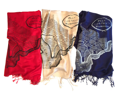 Map Print Scarf, Washington DC linen-weave pashmina