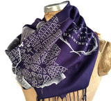 Navy Blue Map Print Scarf, Washington DC pashmina, by Cyberoptix