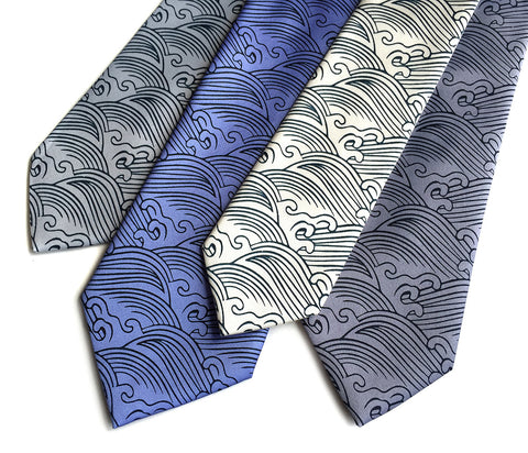 Crashing Waves necktie. Japanese nautical print tie.