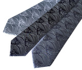 Crashing Waves necktie: silver; navy; steel.
