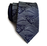 Navy blue Crashing Waves necktie