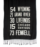 Detroit West Side Bus Scroll scarf.