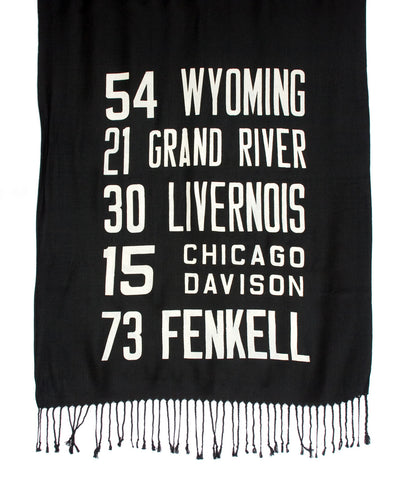 Bus Scroll Pashmina: Detroit West Side Route scarf.