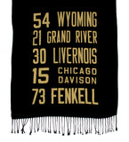 West Side Detroit Bus Scroll scarf, gold on black.