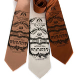 Whiskey Neckties. Black on pale copper, cream, cinnamon.