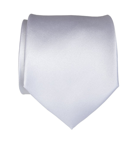 Plain White Necktie. Solid Color Satin Finish Tie, No Print