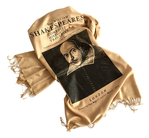 Shakespeare Scarf. First Folio linen-weave pashmina