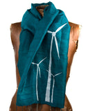 White ink on teal silk scarf.