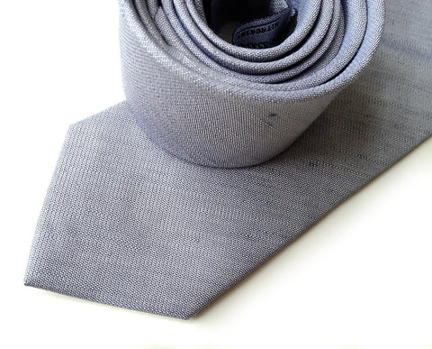 Light Gray Linen Necktie. Silver Solid Color Tie, Woodward