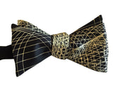 Gold and Black Wormhole Bow Tie, Geometric Op Art Print men's bowtie, by Cyberoptix Tie Lab