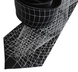 Wormhole Neckties, Black Op Art Lines Geometric Print Tie, by Cyberoptix