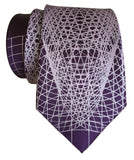 Purple Wormhole Necktie, Op Art Lines Geometric Print Tie, by Cyberoptix