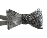 Silver and Black Wormhole Bow Tie, Geometric Op Art Print self-tie bowtie, by Cyberoptix Tie Lab