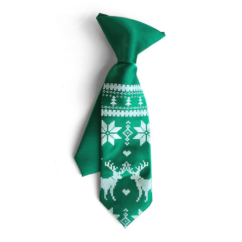Christmas Sweater kids tie. Boys clip-on holiday necktie.