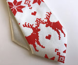 White and red Holiday Sweater kids clip-on necktie, by Cyberoptix