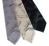 Aug Island men's ties. Smoke gray on silver, champagne, black microfiber.