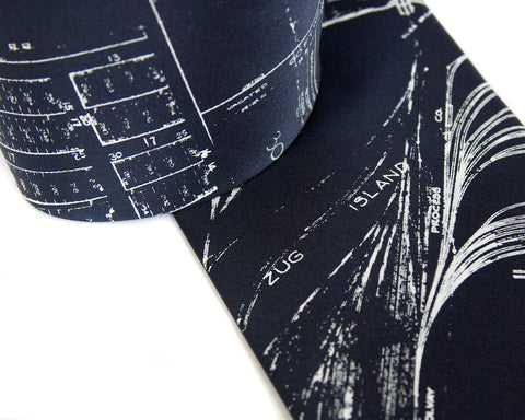 Zug Island & River Rouge silk tie. Detroit Map Necktie.