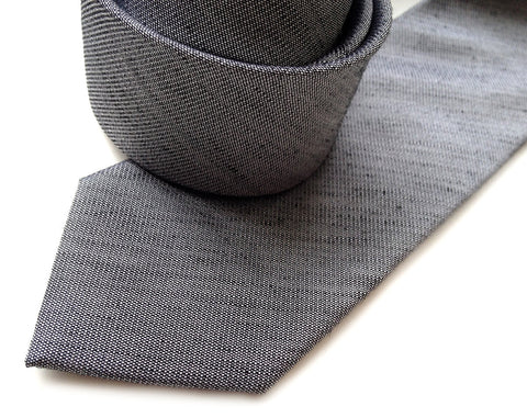 Charcoal Linen Necktie, Dark grey solid color tie, Zug Island
