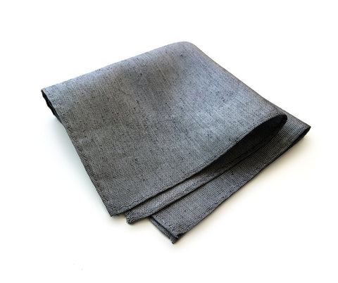 Charcoal Linen Pocket Square, Dark Grey Zug Island