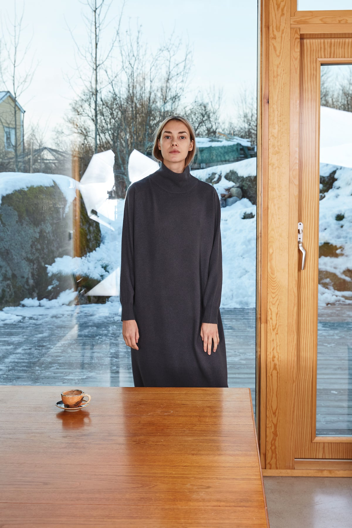 Celia Cashmere Dress in Charcoal