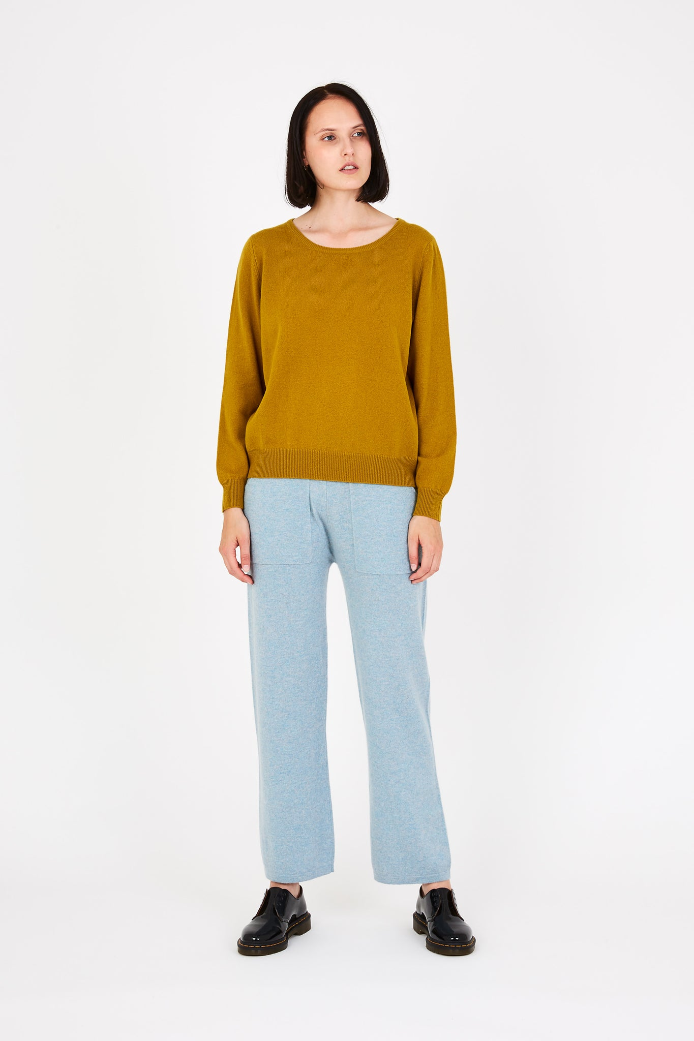 Laine cashmere sweater in mustard yellow