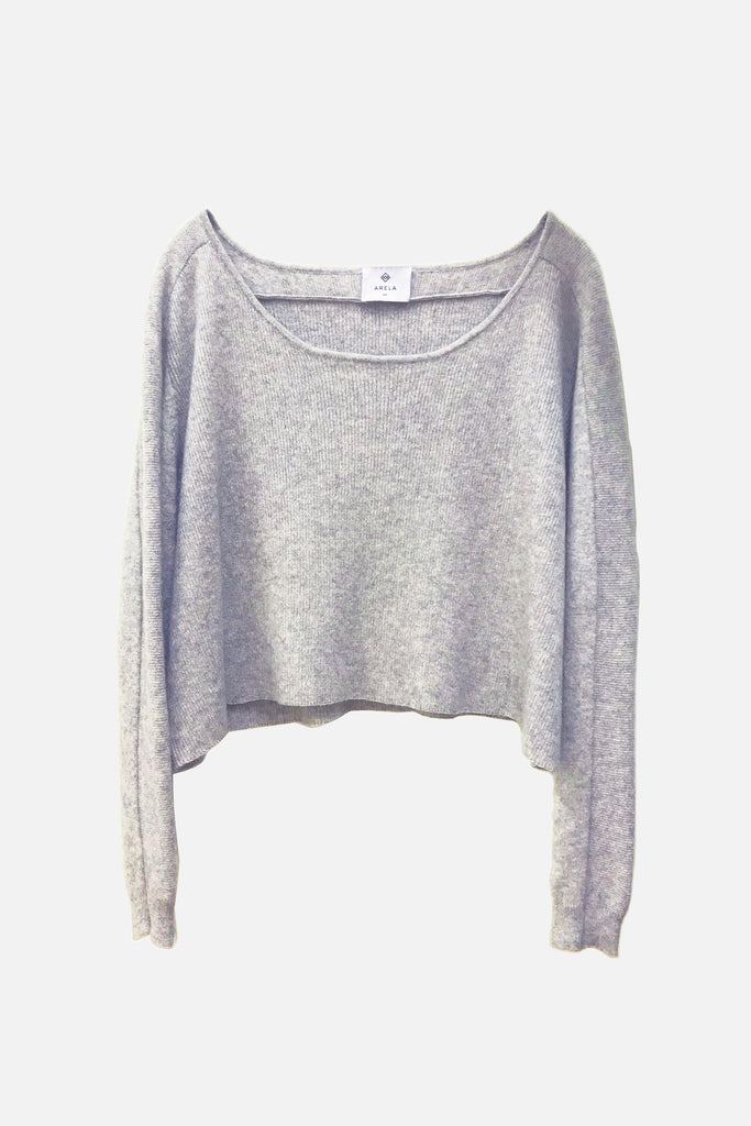 For Good: Light Grey Cropped Sweater, size M
