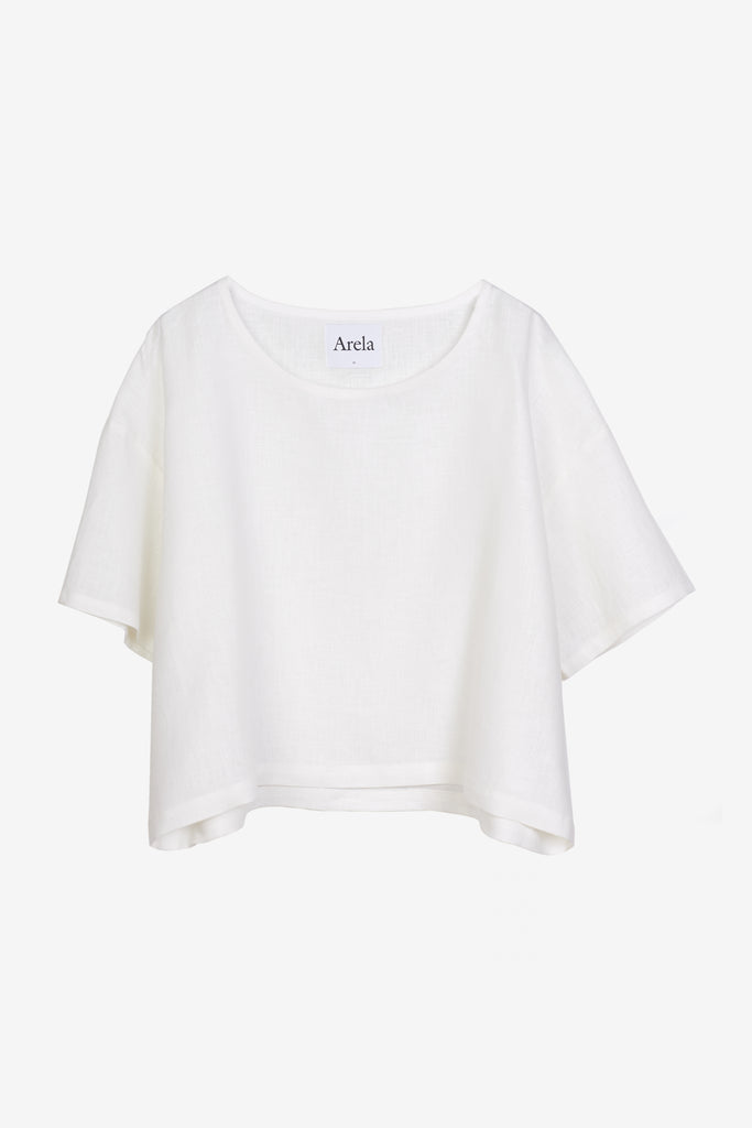 Nika cropped top in white linen