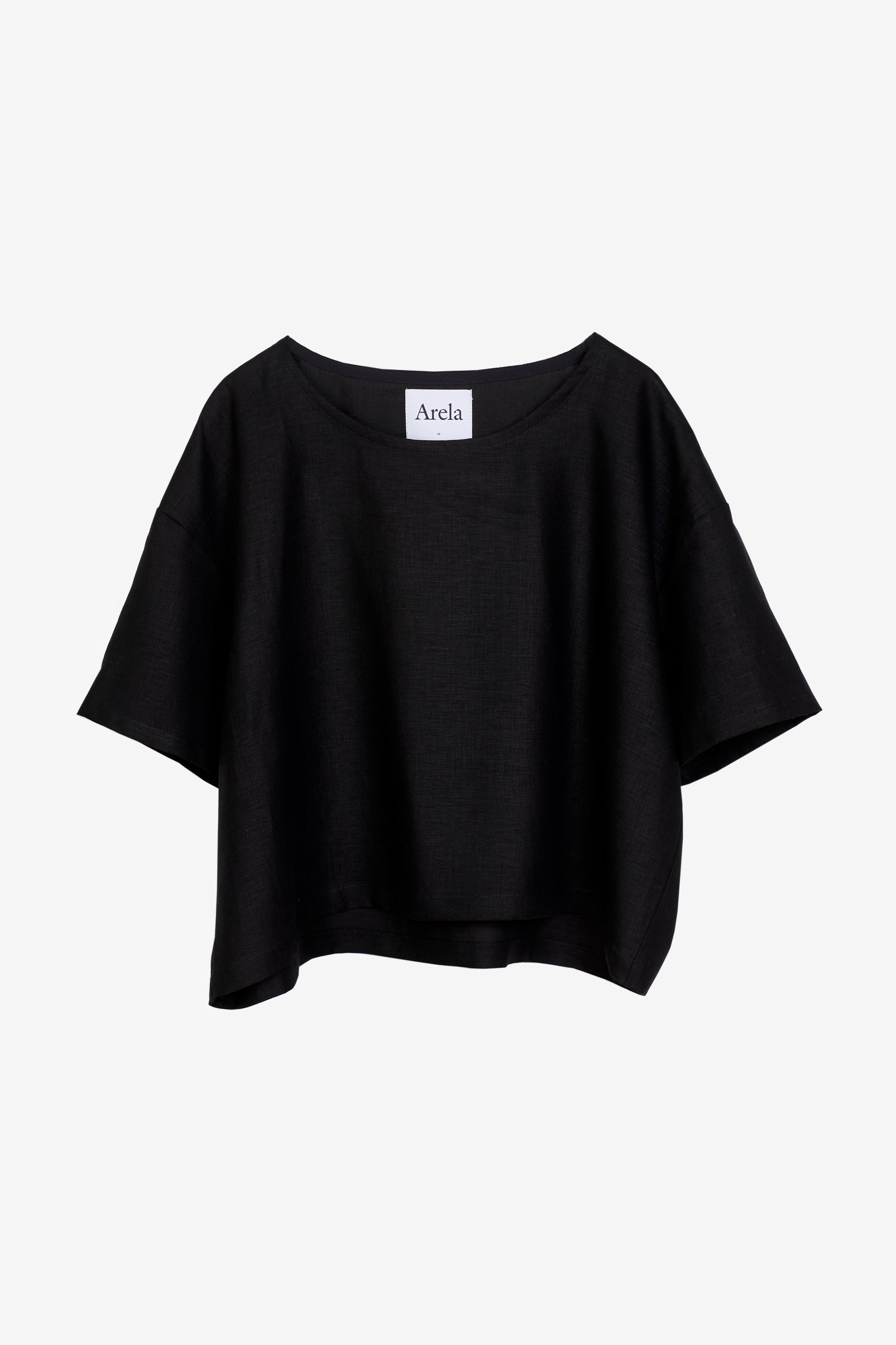 Nika cropped top in black linen